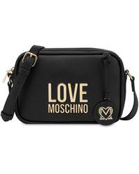 Love Moschino Camera Bag Gold Metal Logo - Nero