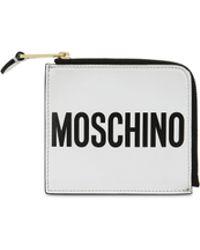 Moschino Portefeuille En Cuir Avec Logo - Blanc