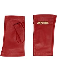 Moschino Fingerless Leather Gloves With Mini Lettering Logo - Red