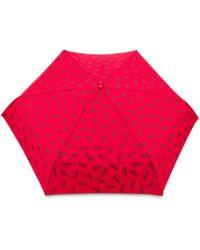 Moschino Ombrello Mini Con Logo All Over - Rosso