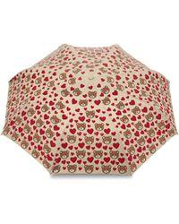 Moschino Regenschirm Mini Openclose Bear Hearts - Natur