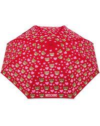 Moschino Ombrello Mini Openclose Bear Hearts - Rosso