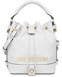 Love Moschino Borsa A Secchiello Con Logo E Borchie - Bianco