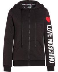Love Moschino Felpa Con Cappuccio E Logo - Nero