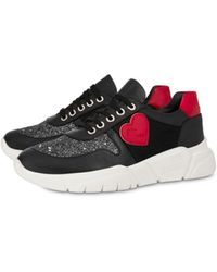 Love Moschino Sneakers En Cuir De Veau Avec Glitter Et Cœur - Noir