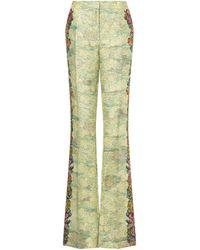 Moschino Pantalone In Cady Animé Cross-stitch Print - Verde