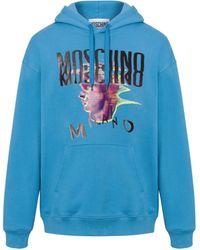 Moschino Sweatshirt À Capuche Logo Glitch Déformé - Bleu