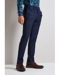 Moss London - Skinny Fit Blue Birdseye Trousers - Lyst