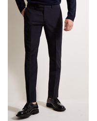 Moss Esq. Regular Fit Navy Stretch Trousers - Blue