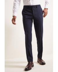 Moss London - Slim Fit Navy Stripe Trousers - Lyst