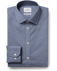 Moss Bros Extra Slim Fit Navy Single Cuff Dobby Check Zero Iron Shirt - Blue