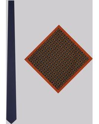 Moss London - Navy & Toffee Tie And Pocket Square Set - Lyst