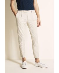 Moss London Slim Fit Stone Linen Blend Single Pleat Cropped Trouser - Multicolor