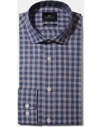Moss Bros Extra Slim Fit Single Cuff Gray & Wine Check Melange Shirt - Blue