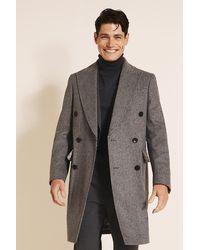 Moss London Slim Fit Grey Puppytooth Overcoat