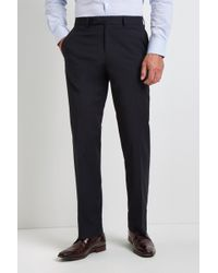 Moss Esq. - Ire Regular Fit Machine Washable Navy Plain Trousers With Stretch - Lyst