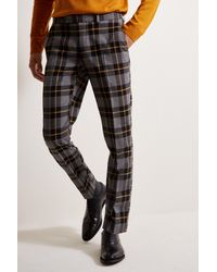 Moss London Slim Fit Grey With Yellow Tartan Check - Gray
