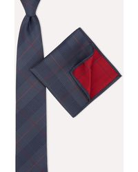 Moss London Navy & Red Crosshatch Tie & Pocket Square Set - Blue