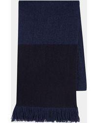 BOSS - Mandus Blue Knit Colour Block Scarf - Lyst