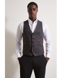 Moss London Charcoal Multi Check Tweed Waistcoat - Grey