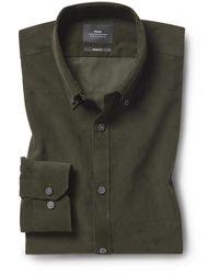 Moss London Slim Fit Green Cord Shirt