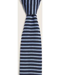 Moss London Navy With Blue Stripe Knitted Tie
