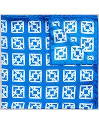 Hardy Amies - Blue Monogram Pocket Square - Lyst