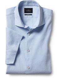 Moss London Slim Fit Sky Short Sleeve Linen Stretch Shirt - Blue
