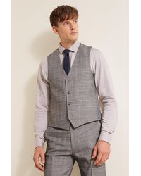 French Connection - Slim Fit Grey Check Waistcoat - Lyst