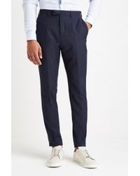 Moss London - Slim Muscle Fit Navy Pindot Trousers - Lyst
