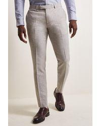 Moss London Slim Fit Light Gray Herringbone Tweed Pants