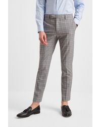 8fb71aa9 Slim Fit Grey Pink Check Trousers - Gray