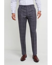Ted Baker Tailored Fit Grey With Blue Check Pants - Gray