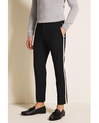 Moss London Slim Fit Navy With Cream Side Stripe Trousers - Blue