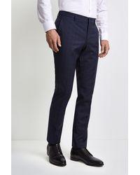 HUGO Navy With Blue Windowpane Trousers