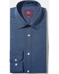 Moss Esq. - Regular Fit Blue Single Cuff Stripe Non Iron Shirt - Lyst