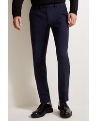 Moss London Slim Fit Blue With Black And White Side Stripe Pants