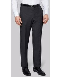 Moss Bros Regular Fit Charcoal Trousers - Grey