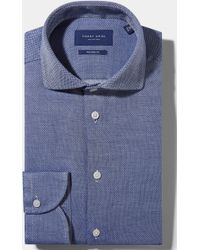 Hardy Amies - Tailored Fit Navy Single Cuff Dobby Shirt - Lyst