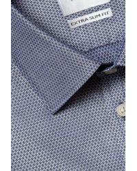 Moss Bros Extra Slim Fit Indigo Single Cuff Dobby Zero Iron Shirt - Blue