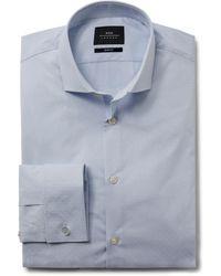 Moss London Slim Fit Sky Dobby Double Cuff Stretch Shirt - Blue