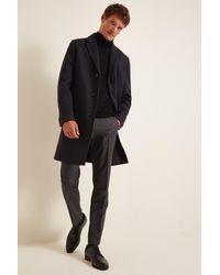 HUGO Navy Malte Overcoat - Blue