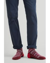 Moss London - Wine Multi-fine Stripe Socks - Lyst