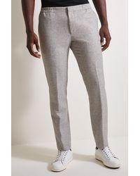 Moss London Slim Fit Light Grey Texture Twinset Pants - Gray