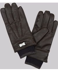 Ted Baker - Chocolate Leather Gloves - Lyst