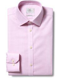 Moss Bros Extra Slim Fit Pink Single Cuff Honeycomb Texture Zero Iron Shirt