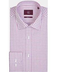 Moss Esq. - Regular Fit Berry Single Cuff Check Shirt - Lyst