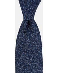 DKNY Navy Small Tonal Floral Silk Tie - Blue