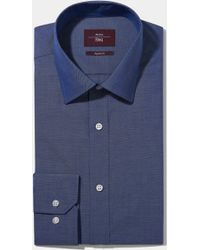 Moss Esq. - Regular Fit Navy Single Cuff Oxford Non Iron Shirt - Lyst