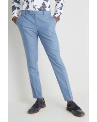 Moss London Slim Fit Chambray Trousers - Blue